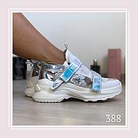Женские кроссовки на липучках сетка белый, фото 1