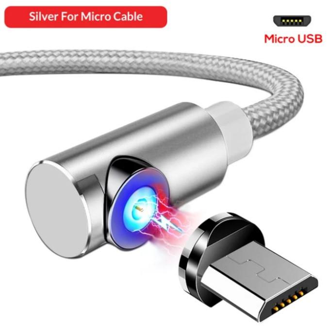 Магнітний Кутовий Micro USB кабель TOPK Сірий 2 метра