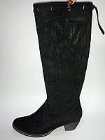 Кожаные женские демисезонные черные сапоги с перфорацией 38р Vizzavi
