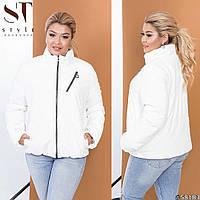Демисезонная женская куртка из эко-кожи (2 цвета)ВШ/-1175 - Молочная