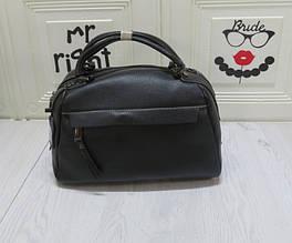 Сумка коробочка карман спереди под клапаном / натуральная кожа (кт-858) Черный