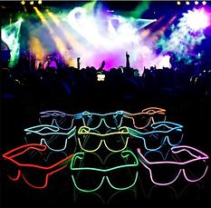 Очки светодиодные  солнцезащитные El Neon ray white неоновые, фото 2