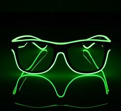 Очки светодиодные прозрачные El Neon ray green неоновые, фото 3