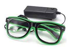 Очки светодиодные прозрачные El Neon ray green неоновые, фото 2