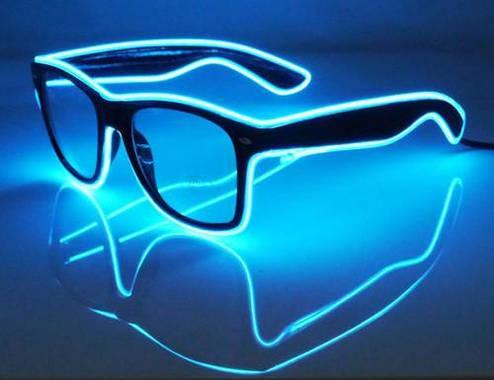 Очки светодиодные  прозрачные El Neon ray ice blue неоновые, фото 2