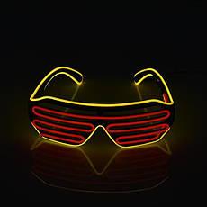 Очки светодиодные El Neon spiral red yellow неоновые, фото 2