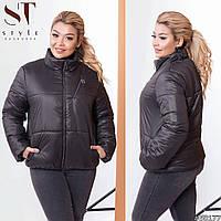 Жіноча демісезонна куртка з еко-шкіри (2 кольори) ВШ/-1175/1 - Чорний, фото 1