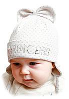"""Детская шапка """"Илона"""" на завязках"""