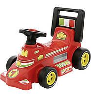 Детская машинка-каталка 7987 красная с защитной спинкой и средними колесами