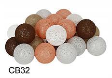 Гирлянда Тайские Шарики LTL Licon Cotton Balls 30led, диам 6см, длина 540см на батарейках АА