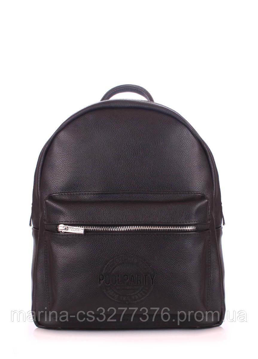 Рюкзак черный кожаный POOLPARTY Xs женский