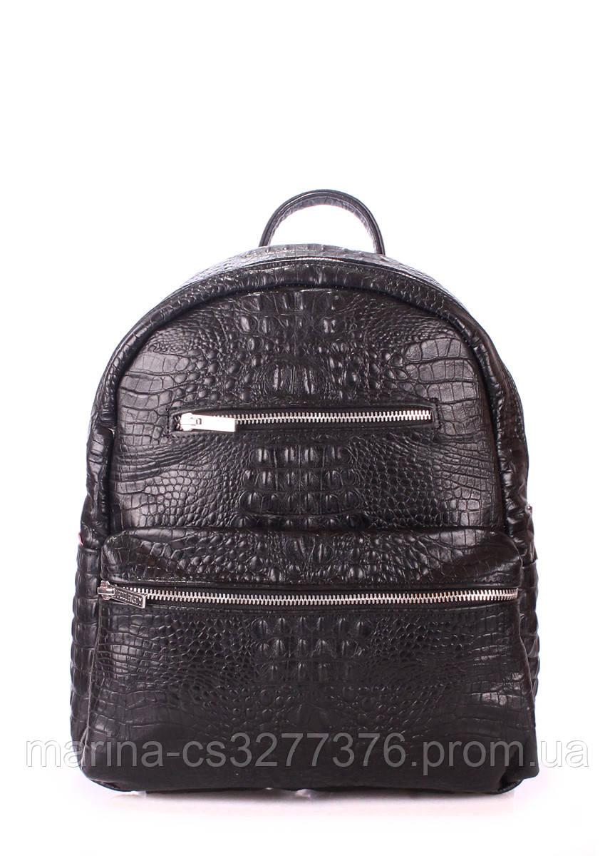 Рюкзак черный под крокодила кожаный POOLPARTY Mini женский