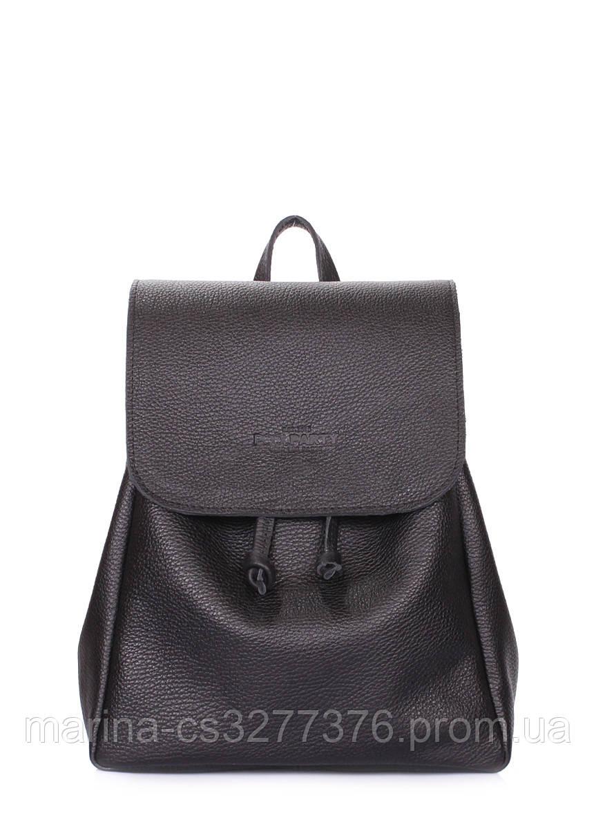 Рюкзак черный кожаный на завязках POOLPARTY Paris женский