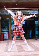 Костюм школьный для девочки, жилет и юбка в складочку