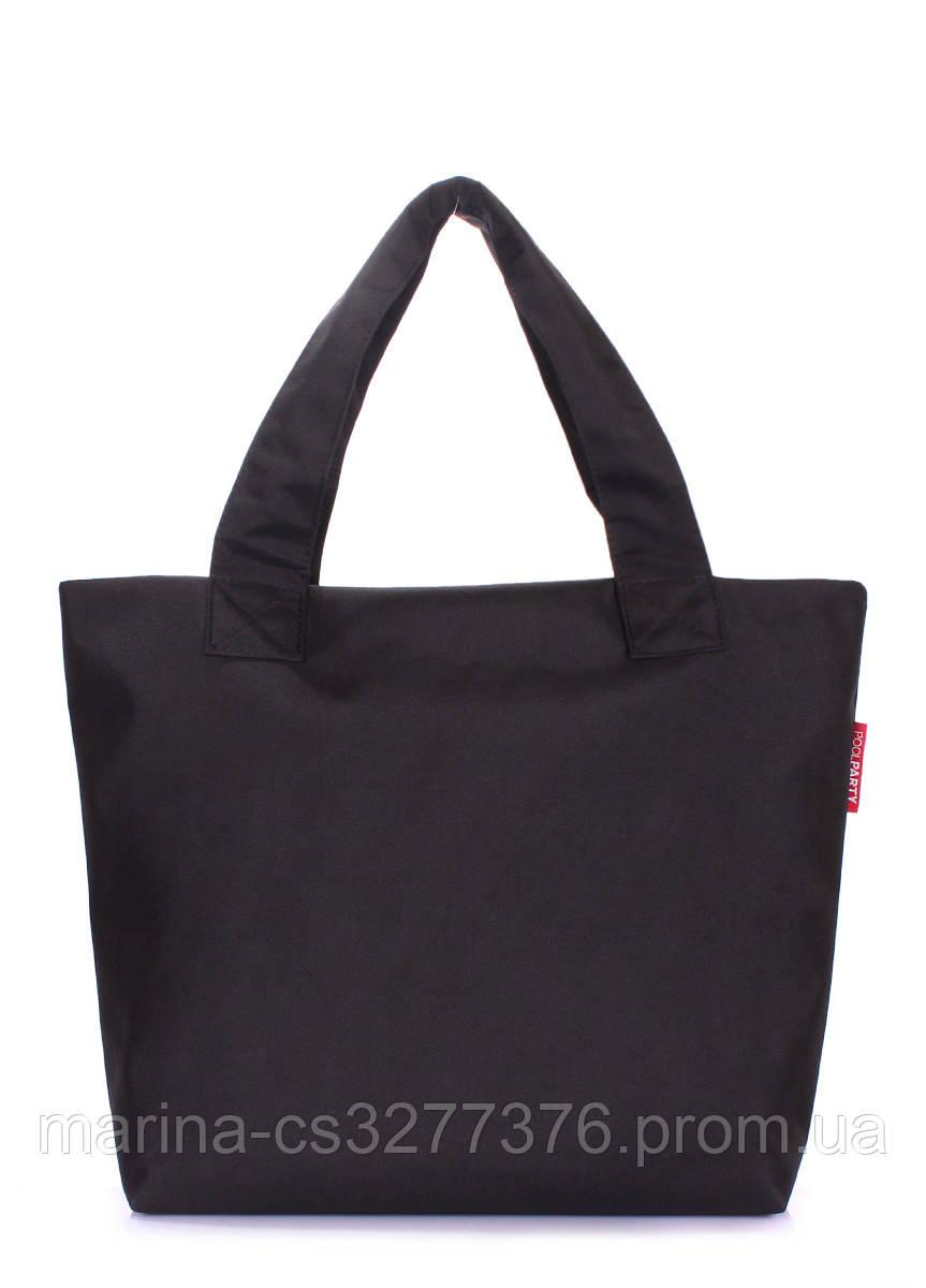 Городская сумка POOLPARTY черная большая тканевая женская повседневная