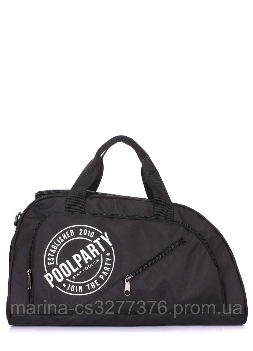 Спортивная сумка POOLPARTY Dynamic с логотипом черная унисекс на ремне