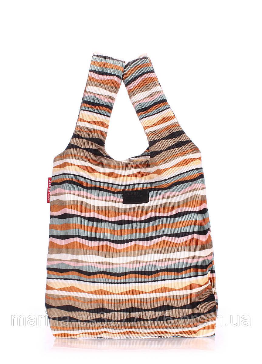 Вельветовая сумка пакет POOLPARTY с полосатым орнаментом волнами коричневая женская