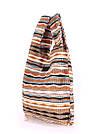Вельветовая сумка пакет POOLPARTY с полосатым орнаментом волнами коричневая женская, фото 2