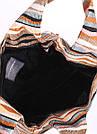 Вельветовая сумка пакет POOLPARTY с полосатым орнаментом волнами коричневая женская, фото 3