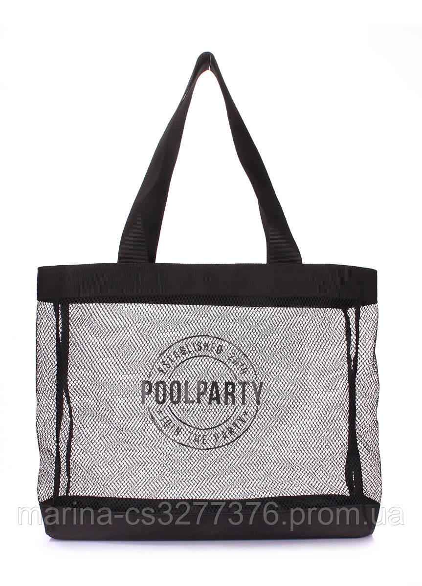 Сетчатая сумка для покупок POOLPARTY с логотипом прозрачная черная женская