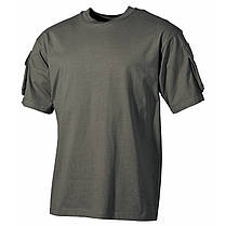 Тактическая футболка спецназа США, тёмно-зелёная, с карманами на рукавах, х/б MFH 00121B, фото 3