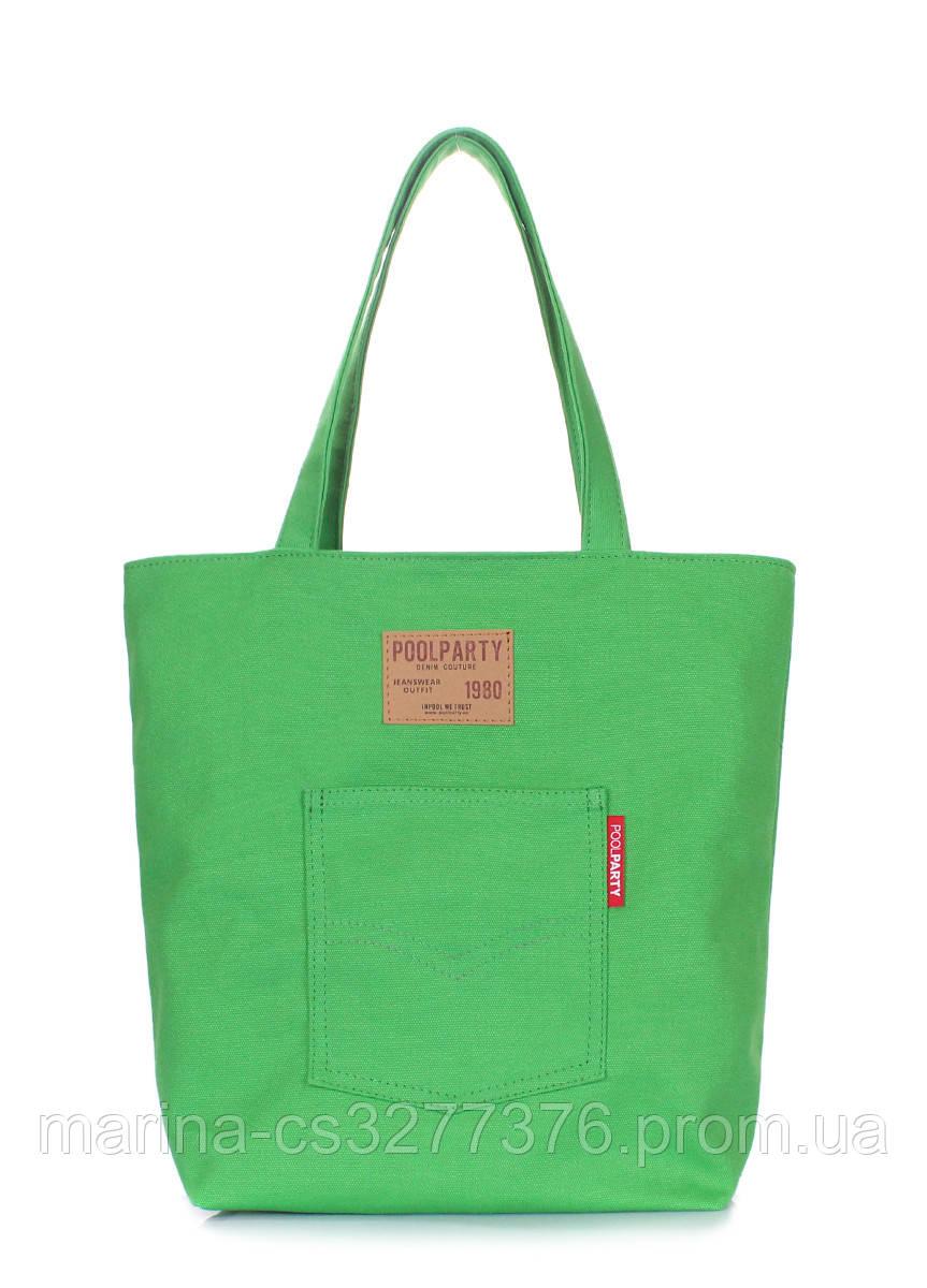 Коттоновая сумка POOLPARTY Arizona зеленая женская