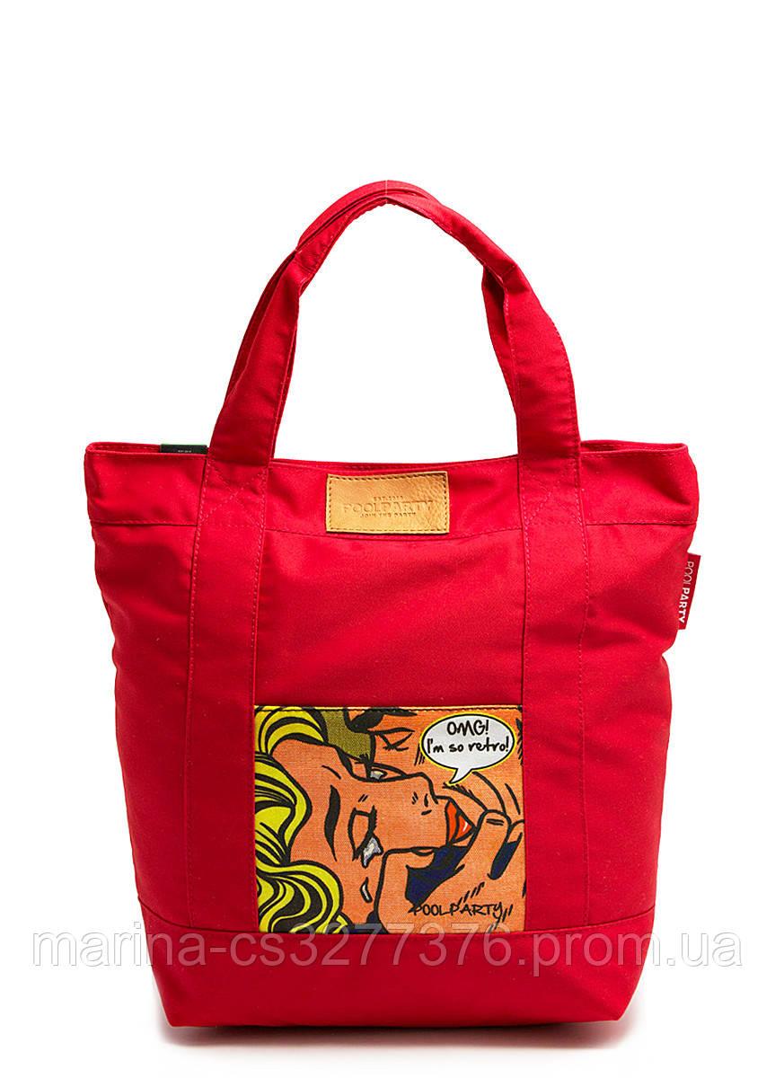Коттоновая сумка POOLPARTY красная с принтом комиксы Рой Лихтенштейн