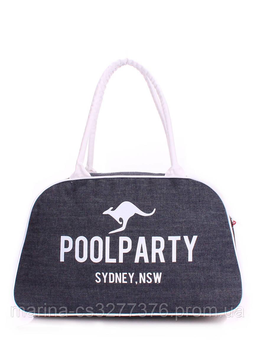 Джинсовая сумка-саквояж POOLPARTY женская мужская унисекс с кенгуру
