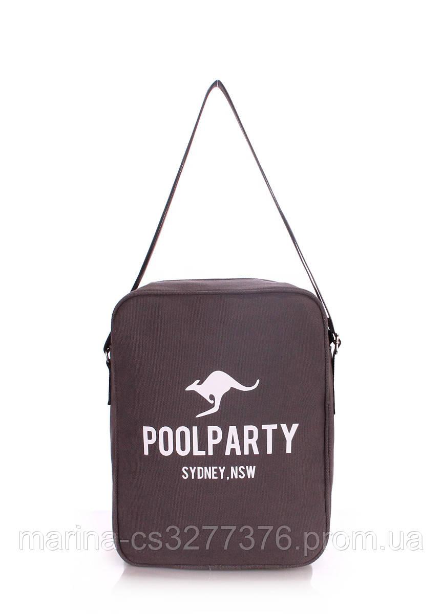 Мужская сумка POOLPARTY с ремнем на плечо коричневая