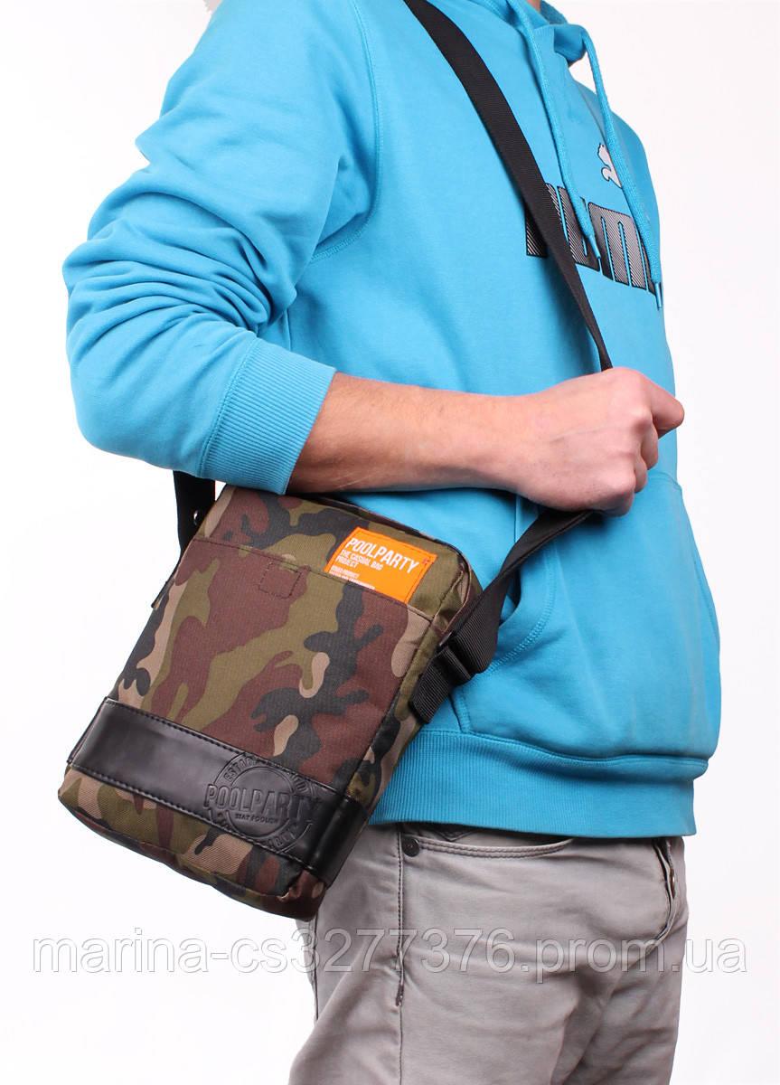 Камуфляжная сумка на плечо POOLPARTY коричневая милитари