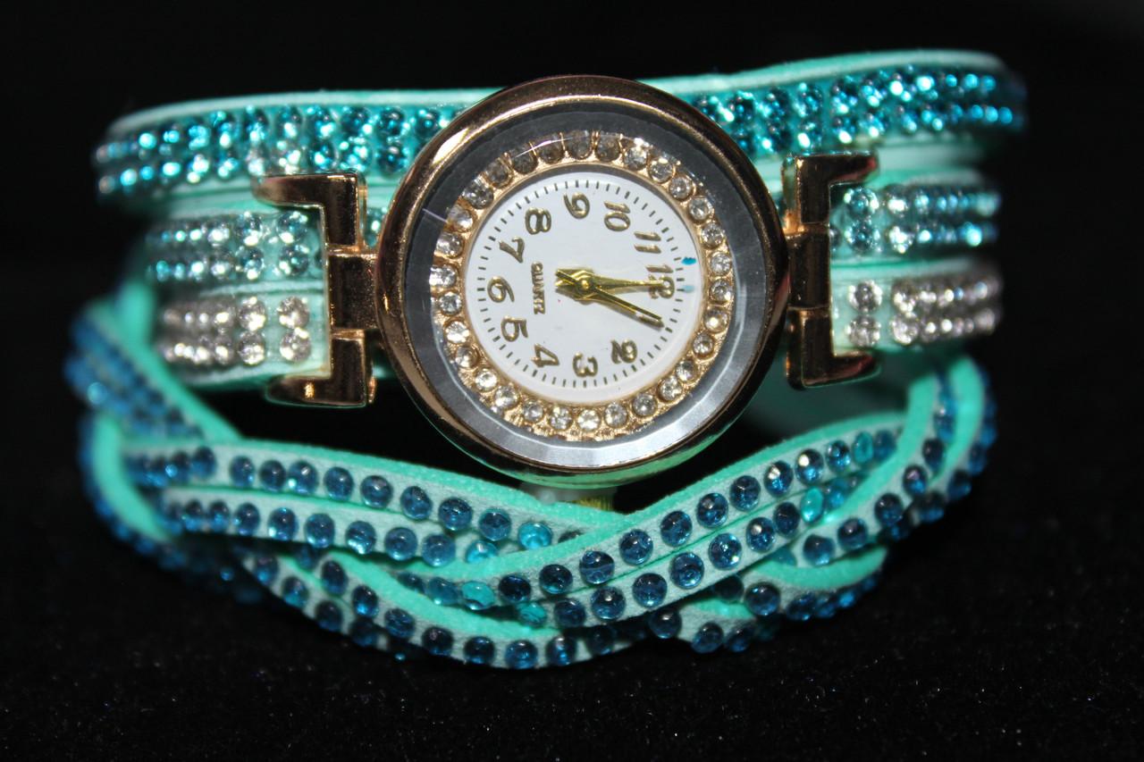 Изысканные женские часы длинный бирюзовый ремешок с камнями