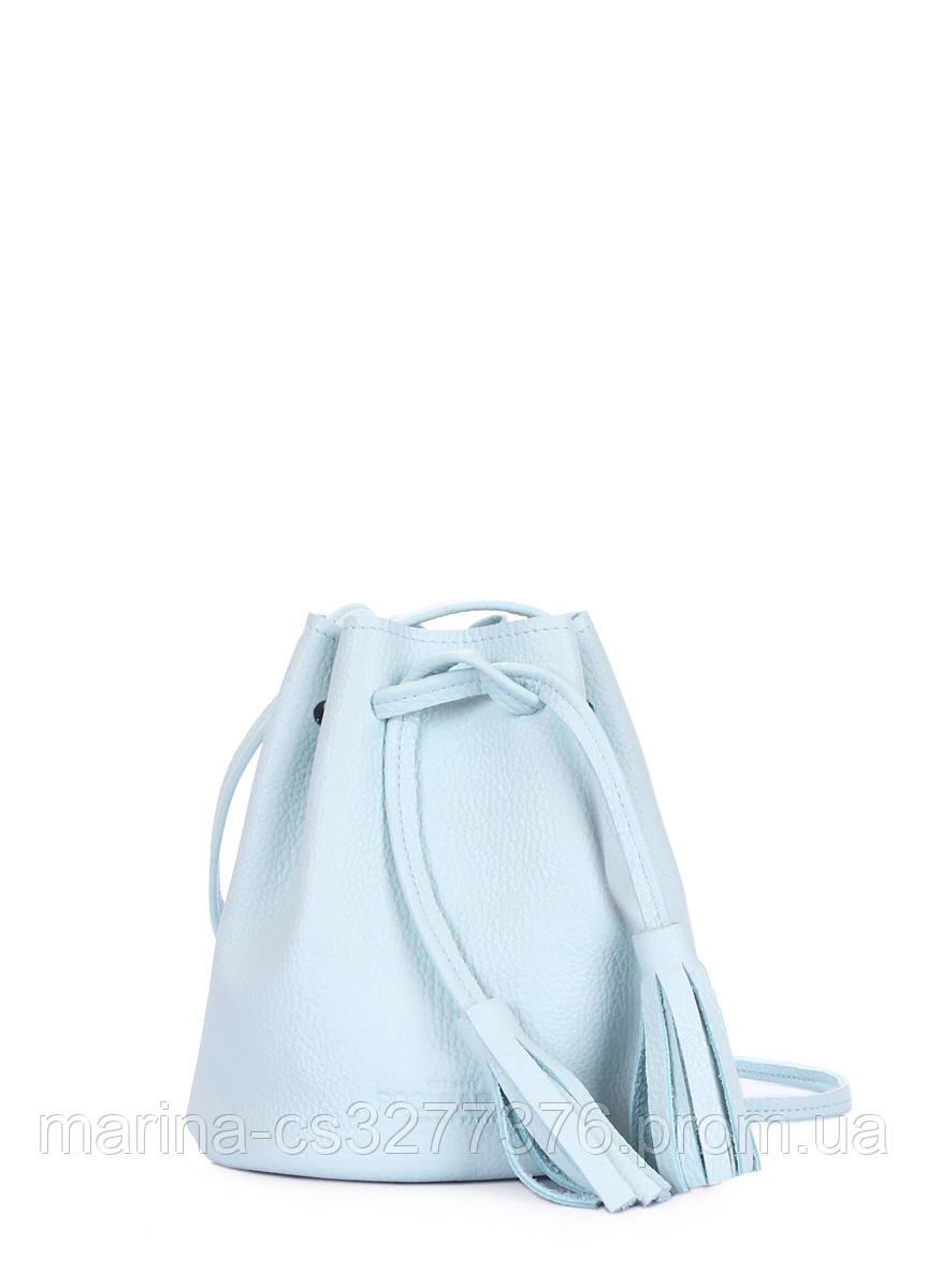 Голубая кожаная сумочка на завязках Bucket голубая летняя женская