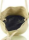 Желтая кожаная сумочка на завязках Bucket желтая летняя женская, фото 4