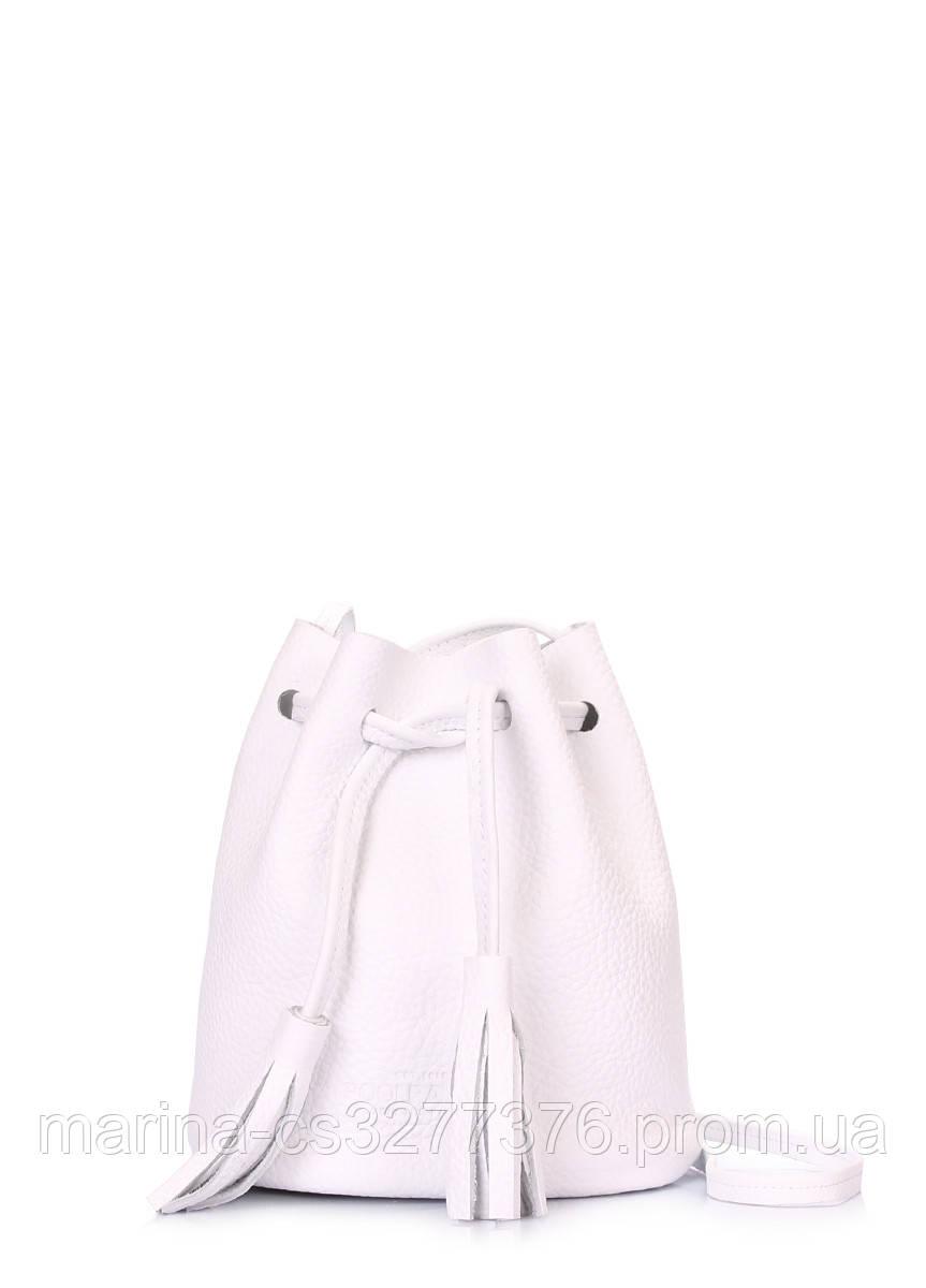 Белая кожаная сумочка на завязках Bucket белая летняя женская