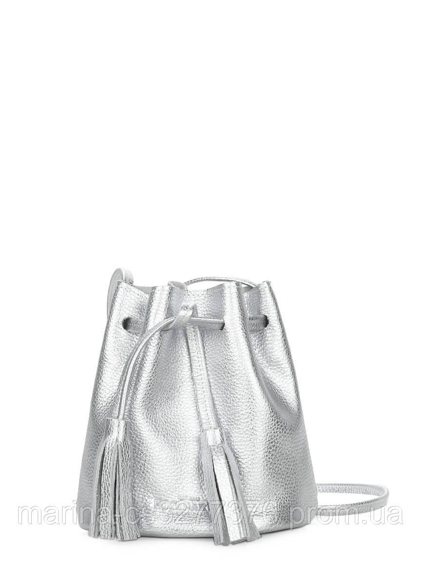 Серебряная кожаная сумочка на завязках Bucket серебряная летняя женская
