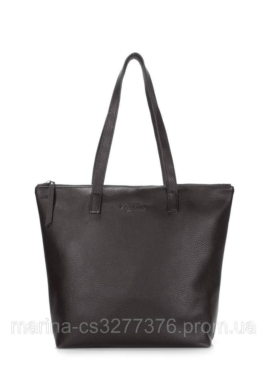 Кожаная сумка POOLPARTY Secret черная на молнии женская