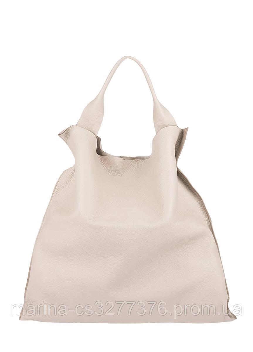 Бежевая кожаная сумка Bohemia бежевая женская