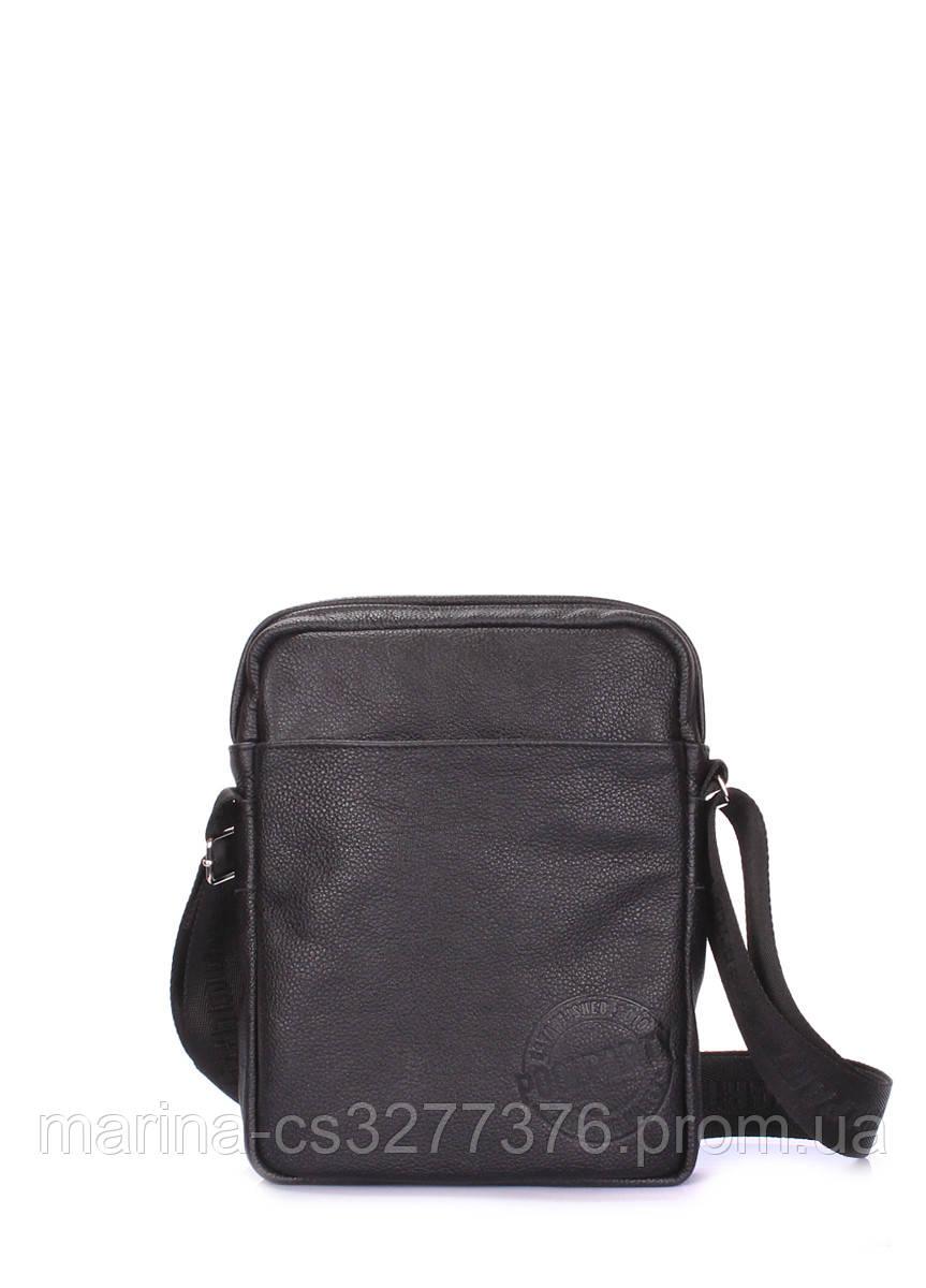 Мужская кожаная сумка на плечо POOLPARTY черная