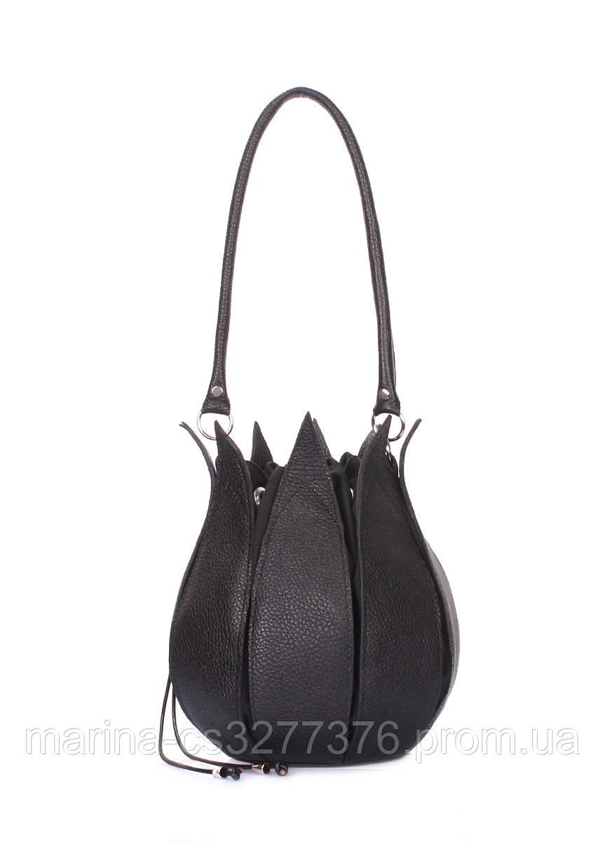 Кожаная сумка Flower POOLPARTY черная сумочка мешок в форме цветка женская