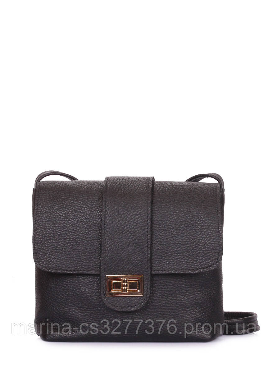 Кожаная сумка на плечо POOLPARTY Kiki черная женская сумка-почтальнон