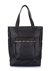 Кожаная сумка POOLPARTY Spirit черная женская мужская унисекс с карманом