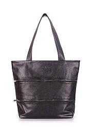 Кожаная сумка POOLPARTY Choice черная с молниями большая женская