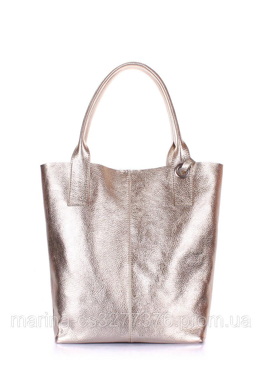 Золотая кожаная сумка POOLPARTY Podium золотая женская