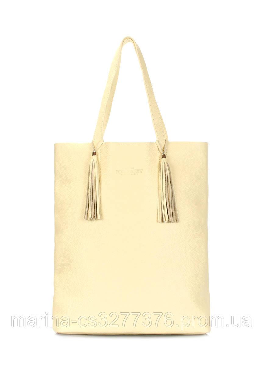 Жёлтая кожаная сумка POOLPARTY Angel женская