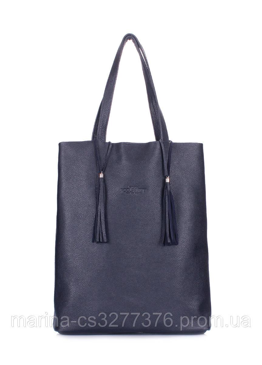 Темно-синяя кожаная сумка Angel с кисточками женская