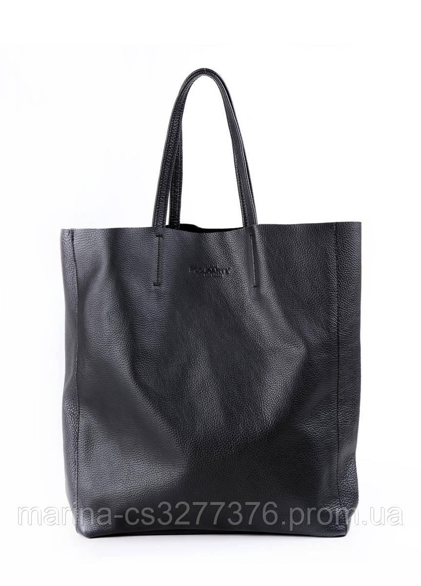 Кожаная сумка POOLPARTY City черная женская