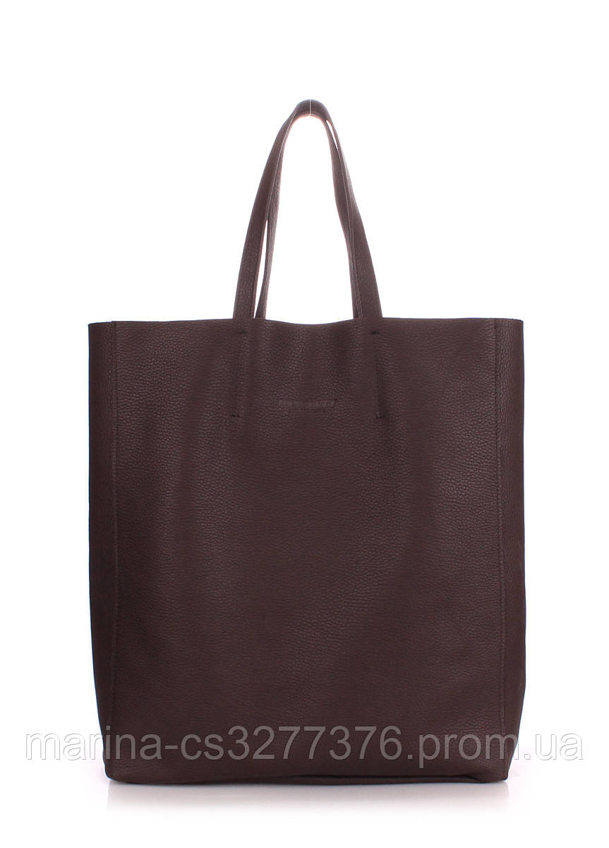 Кожаная сумка POOLPARTY City коричневая женская