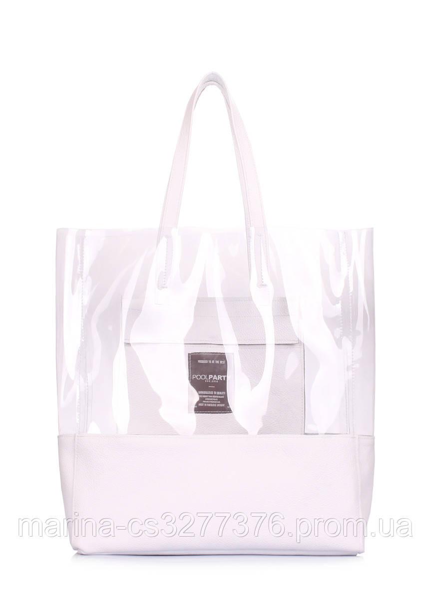 Прозрачная сумка с кожаными вставками Carrie белая женская