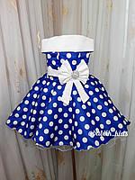 Платье на девочку синие в белый горошек 5-6 лет