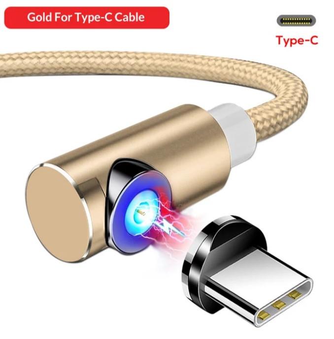 Магнітний Кутовий Type C USB кабель TOPK Золотий 2 метра